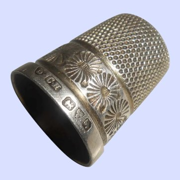 Antique Charles Horner Sterling Silver Thimble, Size 5, Hallmarked Chester 1919