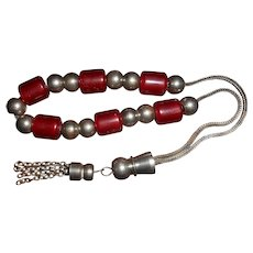Buddhist Mala Cherry Amber Resin Prayer Beads