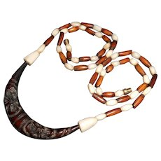 Art Deco Chinese Necklace with Burl Wood Crescent Carved with Flowers