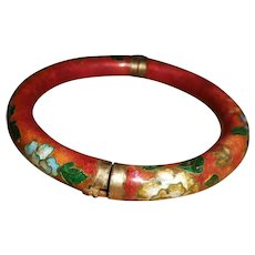 Chinese Cloisonne Enamel Hinged Bangle Bracelet