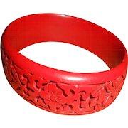 Vintage Chinese Hand Carved Cinnabar Bangle Bracelet
