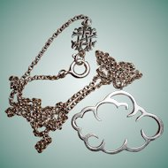 Silver Cloud Pendant Necklace with Monogram NM