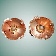 Art Deco Copper Poppy Clip-on Earrings