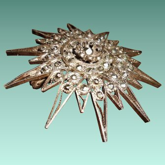 French Mid 19th Century Cut Steel Star Pendant with Brooch Attachment