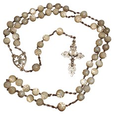 18th Century French Silver & Star Carved Mother of Pearl Rosary