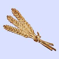 Large French Metal Doré Ears of Corn Harvest Brooch