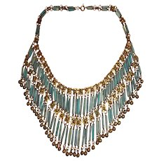1920s Egyptian Revival Collar Necklace of Ancient Egyptian Faience Beads