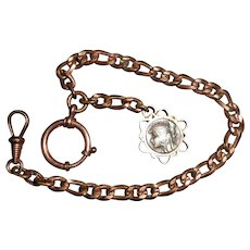French Gold Plated Watch Chain with Egyptian Revival Head of a Princess Fob
