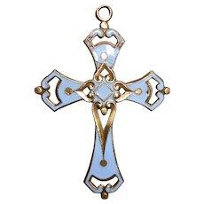 French Heavenly Blue Enamel Decoupé Vermeil Cross Pendant