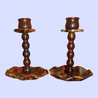 Victorian Faux Tortoiseshell Dressing Table Pair of Candlesticks