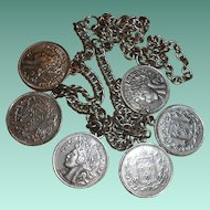 Vintage Necklace of French Napoleon Faux Coins