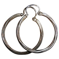 Antique French Sterling Silver Creole Hoop Earrings