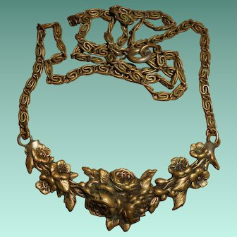 Old French Gilt Metal Flower Swag Repoussé Necklace