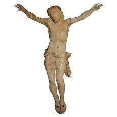Antique French Hand Carved Galalith Christ Crucified