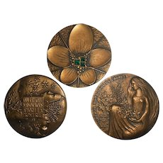 Three French Bronze Medals by Pichard, Vienna Secession Revival Style, circa 1970