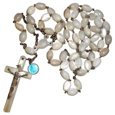 Antique Mother of Pearl Rosary with Saint Sang de Bruges Medallion