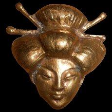 Art Deco Gilt Bronze Head of a Geisha Fur Clip