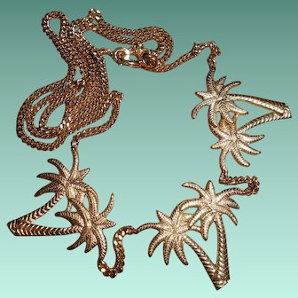 French Gold Plated Palm Tree Necklace