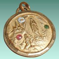 Art Deco Diamond, Ruby, Emerald Lourdes Reliquary Pendant