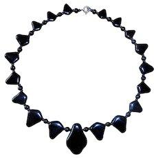 Art Deco Polished Black Onyx Mourning Necklace with Geometric Beads