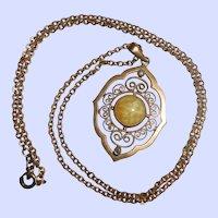 German Kollmar-Kette Jugendstil Necklace with Amber & Sapphire Pastes, circa 1900