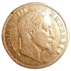 Napoleon III 10 Francs 22 Karat Gold Coin, 1862, BB (Strasbourg)