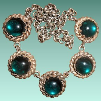 Early 20th Century Teal Green Bohemian Glass Cabochon Necklace