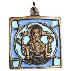 Bronze Enamel Icon Pendant from the Orthodox Benedictine Monastery of Chevetogne