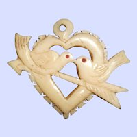 """Saint Valentine Carved Bone """"Trench Art"""" Sweetheart Pendant from Indochina"""