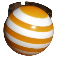 1960's Lucite Sunshine Yellow and White Striped Ball Ring