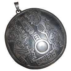 Huge Mid Century Mexican Silver Pendant with Warriors & Hoop