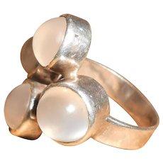 Modernist Moonstone & Silver Cluster Ring