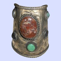 Huge Moroccan Cuff Bangle with Agate Cabochons & Hammered Decoration
