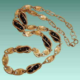 French mid 19th Century Mourning Necklace with Lily Leaves and Onyx Balls