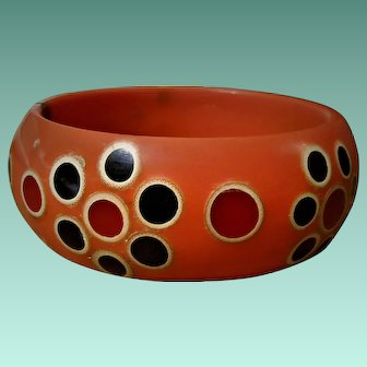 1960s Orange Plastic Bubble Flower Hippy Bangle