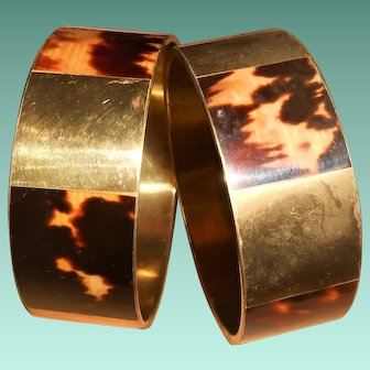Pair of Art Deco French Colonial Tortoiseshell Inlay Brass Bangles