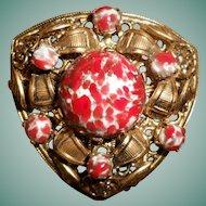 Unusual Red Peking Glass Czech. Brooch, circa 1920