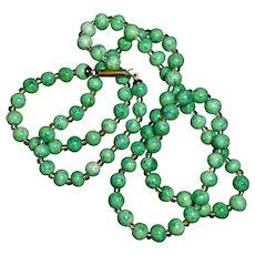 Vintage String of Pea Green Bohemian Peking Glass & Crystal Beads