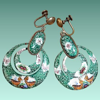 Persian Enamel Hoop Earrings with Deer & Roses