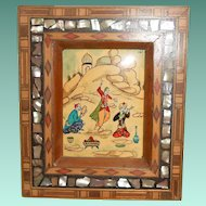 Persian Miniature Ivorine of Court Musicians, Marquetry Mother of Pearl Frame, mid 20th Century