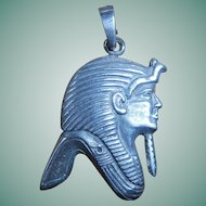 Egyptian Revival Sterling Silver Head of a Pharaoh Pendant