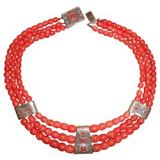 Vintage Middle Eastern 900 Silver Mediterranean Red Coral Necklace