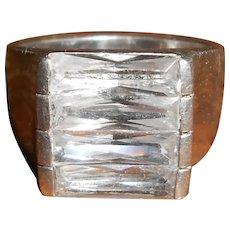 Scandinavian Vintage 1970s Rock Crystal Baguette Modernist Ring