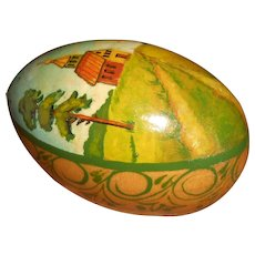 Vintage Hand Painted Russian Wooden Egg with Country Chapel