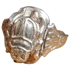 Egyptian Revival 800 Silver Scarab Beetle Ring