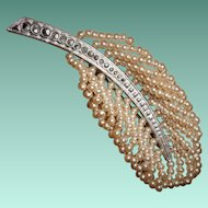 Art Deco French Imitation Seed Pearl Feather Brooch with Marcasites