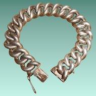 800 Silver Art Deco Puffy Curb Chain Bracelet
