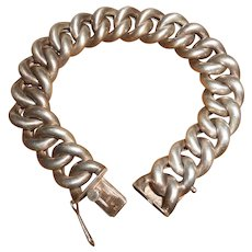 800 Silver Art Deco Puffy Curb Chain Bracelet