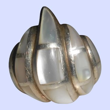 "Chunky Sterling Silver Mother of Pearl Inlay Bombé ""Flame"" Ring"