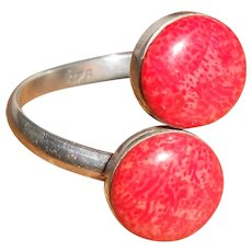 Red Snakeskin Jasper Twin Cabochon Silver Cross Over Ring